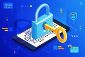 Mobile Web Security Smartphone Access Isometric 3d Key Technology Digital Lock Internet Cyber Protec poster