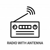Radio With Antenna Icon Isolated On White Background. Radio With Antenna Icon Simple Sign. Radio Wit poster