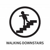 Walking Downstairs Icon Isolated On White Background. Walking Downstairs Icon Simple Sign. Walking D poster