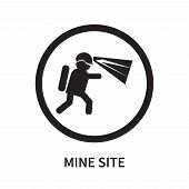 Mine Site Icon Isolated On White Background. Mine Site Icon Simple Sign. Mine Site Icon Trendy And M poster