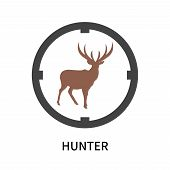 Hunter Icon Isolated On White Background. Hunter Icon Simple Sign. Hunter Icon Trendy And Modern Sym poster