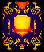 foto of torchlight  - The Shield with torchlight by pattern on turn blue the background - JPG