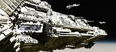 picture of battle  - Giant space battle cruiser deploying small scout ships in low orbit over a planet - JPG