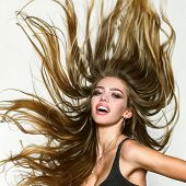 Perfect Long Hair. Blonde Wave Long Hair. Perfect Girl Smiling On White Background. Beauty And Perfe poster