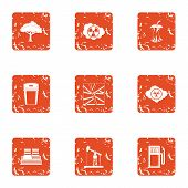 Technical Climate Icons Set. Grunge Set Of 9 Technical Climate Icons For Web Isolated On White Backg poster