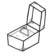 Box With An Engagement Ring. Vector Illustration Box With Ring. Hand Drawn Ring With A Diamond In A  poster