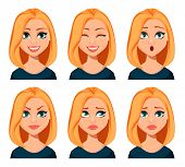 Face Expressions Of Woman With Blond Hair. Different Female Emotions Set. Beautiful Cartoon Characte poster
