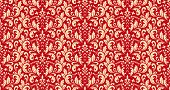 Floral Pattern. Vintage Wallpaper In The Baroque Style. Seamless Background. Red And Gold Ornament F poster