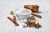 White Granulated And Cane Cubes Sugar With Different Spices For Confectionery poster