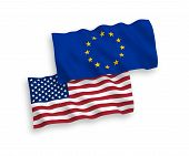 European Union And American Flags Isolated On White Background. Vector Illustration Of The Eu Und Us poster