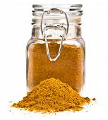glass  jar  filled with spicy powder  isolated on white poster