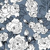 Seamless Pattern Of Wild Roses Blossom Branch Isolated On Blue. Vintage Botanical Hand Drawn Illustr poster