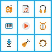 Audio Icons Flat Style Set With Play List, Begin, Earpiece And Other Acoustic Elements. Isolated  Il poster