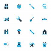 Industry Icons Colored Set With Bucket Tools, Conversation Level, Turn-screw And Other Instrument El poster