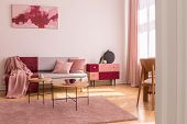 Poster Above Grey Sofa With Pillows In Bright Living Room Interior With Table On Pink Carpet. Real P poster