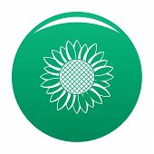 Nice Sunflower Icon. Simple Illustration Of Nice Sunflower Icon For Any Design Green poster