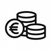Euro Coins Icon Isolated On White Background. Euro Coins Icon In Trendy Design Style. Euro Coins Vec poster