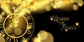 Happy New Year Luxury Golden Web Banner Illustration In French Language, Clock Marking Midnight Time poster