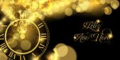 Happy New Year Luxury Golden Web Banner Illustration In Portuguese Language, Clock Marking Midnight  poster