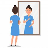 Young Long-haired Woman Standing In Front Of Mirror And Looking. Woman Standing And Looking In Mirro poster