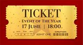 Admission Golden Ticket Template. Vector Mockup Movie Ticket (tear-off) With Star Gold Background. U poster