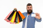 Happy Man With Card, Copy Space. Black Friday. Cyber Monday. Bearded Man With Shopping Bags.. Mature poster