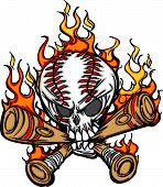 image of fastpitch  - Cartoon Image of Flaming Baseball Bats and Skull with Baseball Laces - JPG