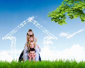 foto of dream home  - happy family spends time together on nature  - JPG