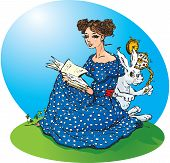 Alice`s adventures in Wonderland. Alice read a book, White Rabbit run in a great hurry