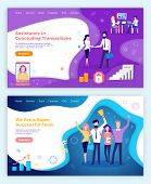 Assistance In Concluding Transactions, Successful Workers With Award For Achievements Vector. Person poster
