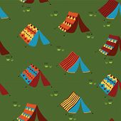 Camping Tents Seamless Vector Pattern Background. Meadow With Hand Drawn Boho Tents. Camping Collect poster