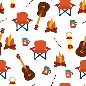 Camping Seamless Vector Pattern Background. Outdoor Equipment. Folding Chair, Marshmallow, Lantern,  poster