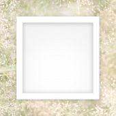 Empty White Frame Template On Soft Blurred Soft Grass Nature Background, White Rectangle Frame Blank poster