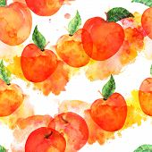 A Watercolor Seamless Pattern With Vibrant Red Apples On A White Background With Paint Stains, A Veg poster