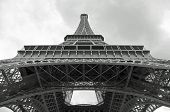 Detail Of Truss Of Eiffel Tower Bottom View And Black And White Effect poster