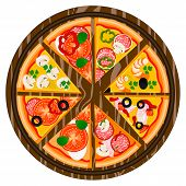 Vector Illustration Logo For Whole Round Hot Pizza, Slice Triangle From Pizzeria Menu. Pizza On Wood poster