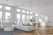 White Living Room And Dining Room Corner poster