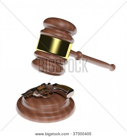 Law and crime. Judge gavel and gun