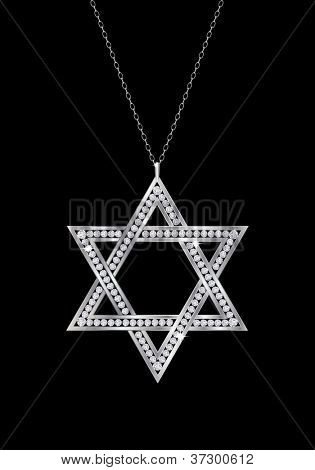A diamond Star of David necklace on chain. Isolated on black background. EPS10 vector format.