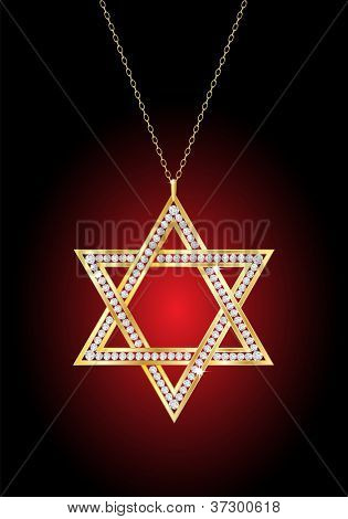 A diamond Star of David necklace on gold chain, against red and black background . EPS10 vector format.