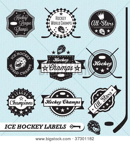 Vector Set: Vintage Hockey Labels