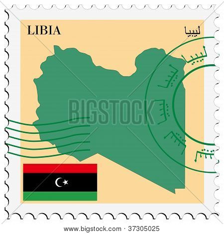 stamp with map and flag of Lybia