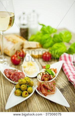 Deliscious Antipasti Plate With Parma Parmesan Olives