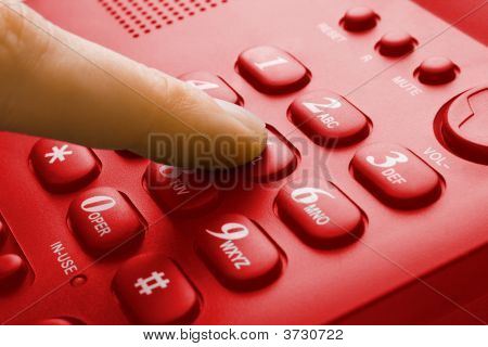 Finger With Red Phone Keypad