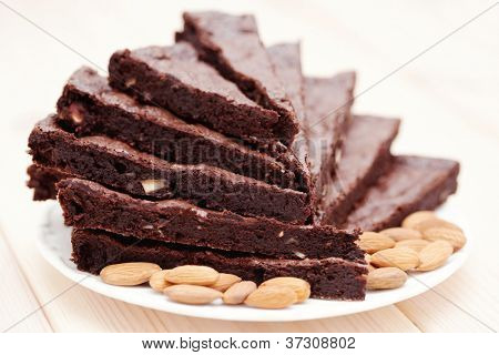 delicious brownie with almonds - sweet food /shallow DOFF/