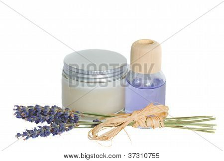Lavender flowers and aroma oil with cream