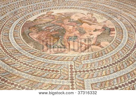 Ancient Greek Mosaic In Archaeological Park In Paphos, Cyprus