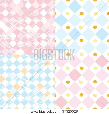 Checkered seamless patterns set for baby
