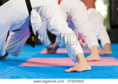 Group in martial art training in a gym, she is stretching and warming up