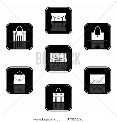 Set Of Black Icons With Bags
